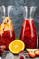 Preview iPhone wallpaper Fruit drinks, juice, citrus, grapes, orange, berries