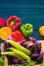 Preview iPhone wallpaper Fruits and vegetables, banana, tomato, oranges, peppers, broccoli
