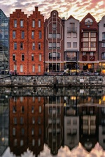 Gdansk, Poland, river, houses, water reflection