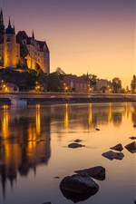 Preview iPhone wallpaper Germany, Albrechtsburg Castle, river, night, lights