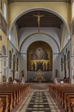 Preview iPhone wallpaper Germany, Bavaria, Friedberg, church, hall, bench