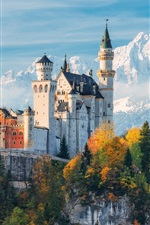 Preview iPhone wallpaper Germany, Bayern, Neuschwanstein Castle, trees, mountains, autumn