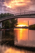 Preview iPhone wallpaper Germany, Berlin, Abbey bridge, river, clouds, sunset, dusk