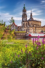 Preview iPhone wallpaper Germany, Dresden, city, grass, river, boats, bridge
