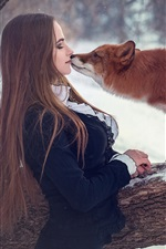 Girl and fox, kiss, snow, winter