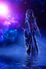 Preview iPhone wallpaper Girl back view, shine, water, stars, galaxy, art picture