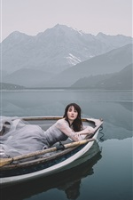 Preview iPhone wallpaper Girl, boat, lake, mountains, morning
