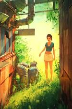 Vorschau des iPhone Hintergrundbilder Mädchen, Haus, Gras, draußen, Skizzen