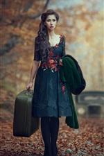 iPhone fondos de pantalla Chica en el bosque, otoño, maleta