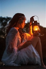 Preview iPhone wallpaper Girl, lamp, dock, river, darkness