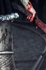 Menina, pernas, meia arrastão, machado, sangue
