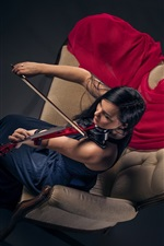 Girl play violin, sofa, top view
