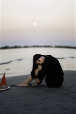 Preview iPhone wallpaper Girl sit on beach, toy boat, sea, mood