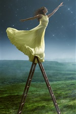 Preview iPhone wallpaper Girl want to get moon, yellow skirt, grass, creative photography