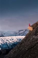 Glacier, Iceland, mountains, snow, girl