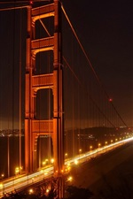 Preview iPhone wallpaper Golden Gate Bridge, San Francisco, night, lights, city, USA