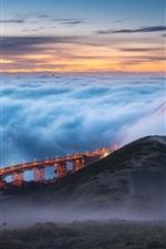 Golden Gate Bridge, fog, morning, USA