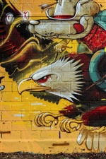 Preview iPhone wallpaper Graffiti, wall, eagle, wolf knight
