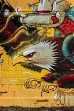 Graffiti, parede, águia, lobo cavaleiro