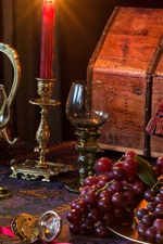 Grapes, pear, pineapple, still life, lamp, cups, candles