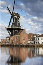 Preview iPhone wallpaper Haarlem, Netherlands, windmill, houses, city, river