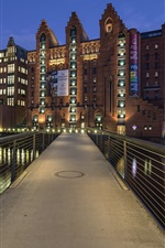 Preview iPhone wallpaper Hamburg, Germany, Maritimes Museum, night, river, bridge