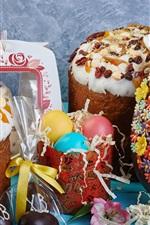 Feliz Páscoa, bolos, ovos, chocolate, comida