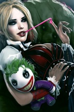 Preview iPhone wallpaper Harley Quinn, joker, gum, toy, art painting