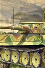Preview iPhone wallpaper Heavy tank, art picture