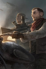 Preview iPhone wallpaper Homefront: The Revolution, motorcycle, weapon
