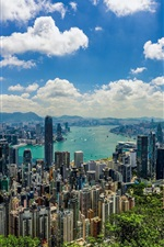 Hong kong, cidade, vista, mar, nuvens, manhã