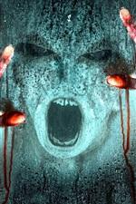 Horror, mãos, rosto, sangue, vidro, chuva