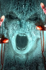 Preview iPhone wallpaper Horror, hands, face, blood, glass, rain