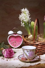 Preview iPhone wallpaper Hyacinths, cup, clock, sugar, rose, still life