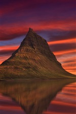 Preview iPhone wallpaper Iceland, Kirkjufell, mountain, sea, red sky, clouds