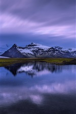 Preview iPhone wallpaper Iceland, lake, water reflection, mountains, snow, dusk