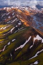 Aperçu iPhone fond d'écranIslande, montagnes, neige, vue de dessus