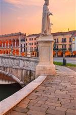 Preview iPhone wallpaper Italy, Padova, Square Prato della Valle, promenade, statue, river, bridge
