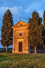 Preview iPhone wallpaper Italy, Tuscany, Vitaleta Chapel, trees, grass, blue sky