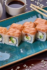 Preview iPhone wallpaper Japanese food, rice rolls, sesame, salmon