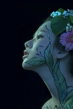 Preview iPhone wallpaper Japanese girl, body painting, face, black background