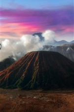 Preview iPhone wallpaper Java, Indonesia, mountains, volcano, smoke