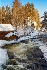 iPhone обои Куусамо, Финляндия, зима, снег, хижина, река, деревья
