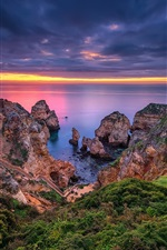 Preview iPhone wallpaper Lagos, Portugal, Algarve, sea, coast, rocks