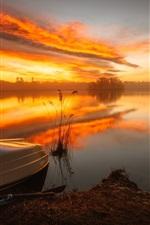 Preview iPhone wallpaper Lake, boat, river, sunrise, fog, morning