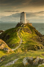 Lighthouse, sea, grass