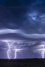 Preview iPhone wallpaper Lightning, storm, clouds, darkness