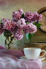 Preview iPhone wallpaper Lilac, pink flowers, clock, cup, kettle