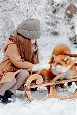 Preview iPhone wallpaper Little girl and fox are friends, winter, snow