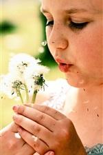 Little girl play dandelions